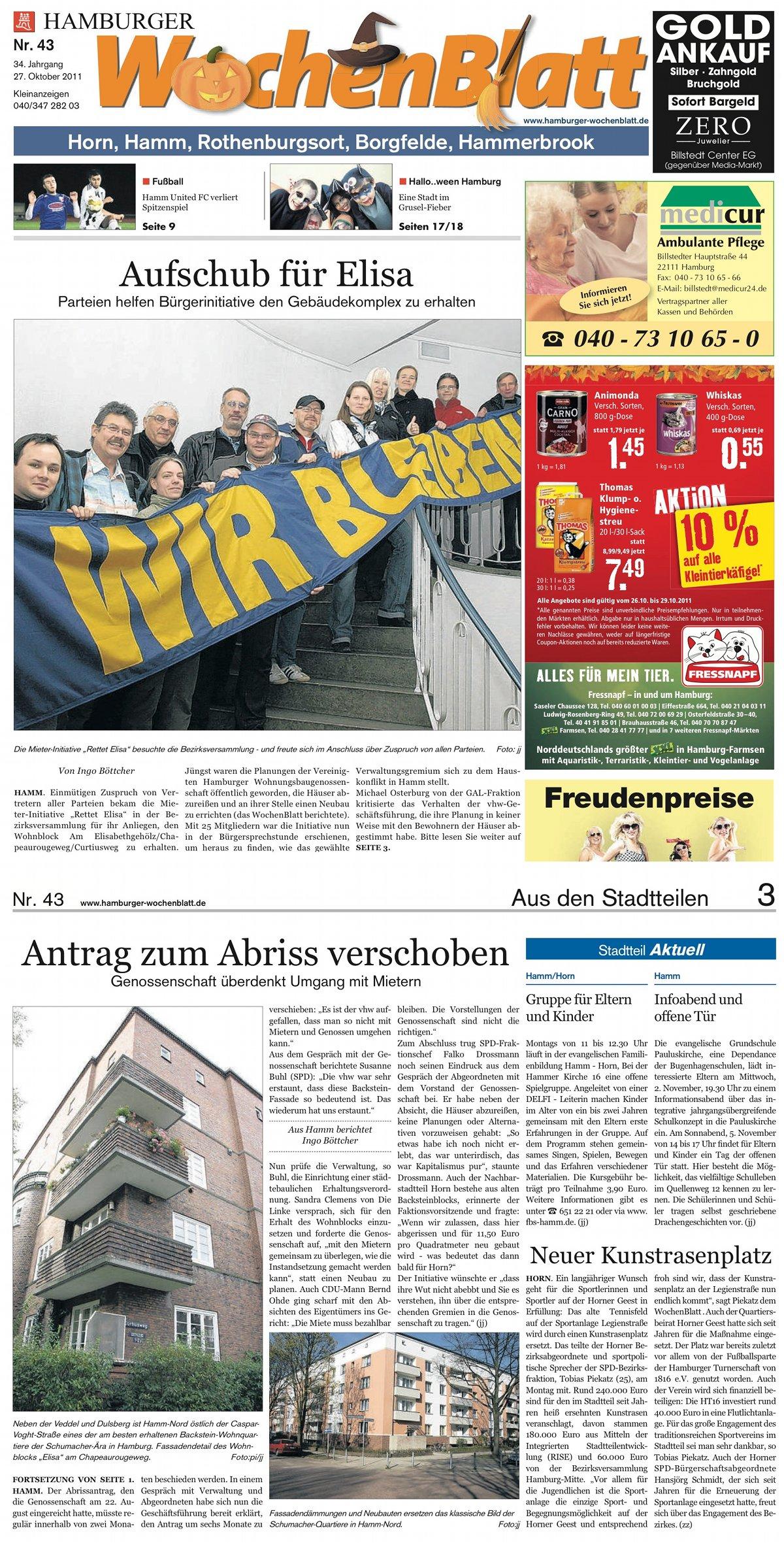 Rettet-Elisa im Wochenblatt KW43